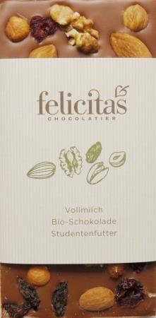 Tafelschokolade Bio mit Studentenfutter 100g