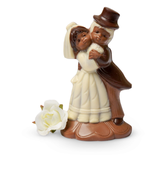Brautpaar drückend aus Schokolade