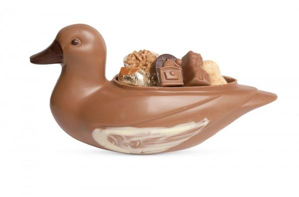 Ente prall gefüllt mit Pralinen
