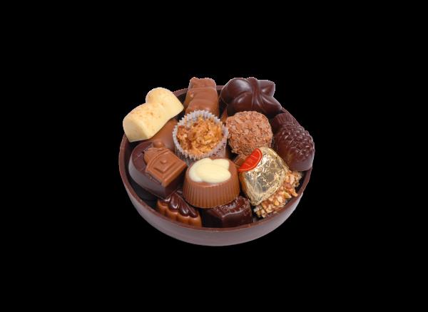 Schokoladen-Schale rund gefüllt mit Pralinen