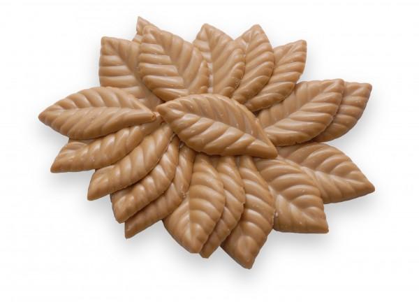 Schokoladenplättchen Blätter Goldkaramell 100g