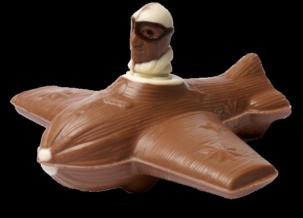 Flugzeug mit Pilot aus Schokolade