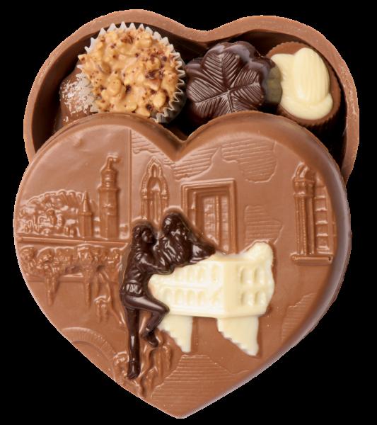 Schokoladen-Herz Romeo & Julia gefüllt mit Pralinen