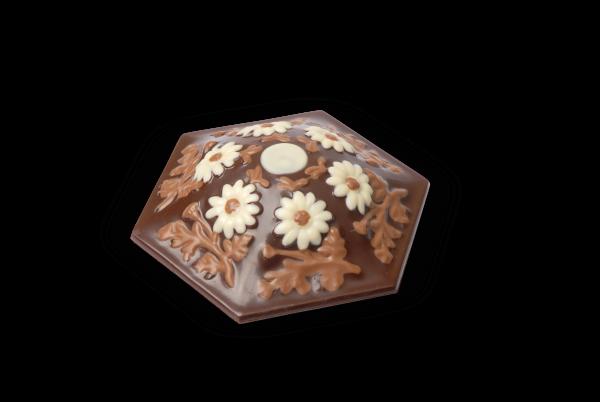 Schokoladen-Bonboniere 6-eckig gefüllt mit Pralinen
