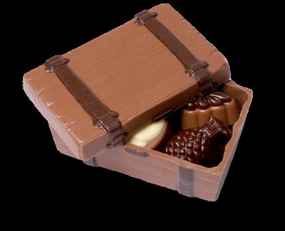 Schokoladen-Koffer gefüllt mit Pralinen
