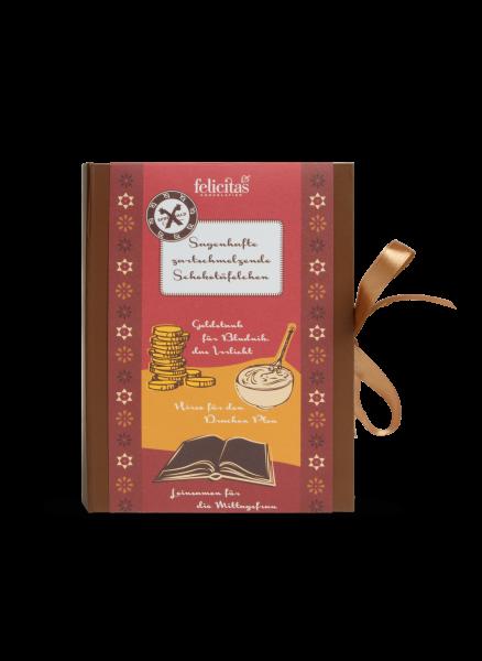 Sagenbuch gefüllt mit Schokoladenplättchen